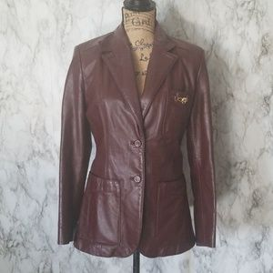 Etienne Aigner| 1970's Oxblood Leather jacket